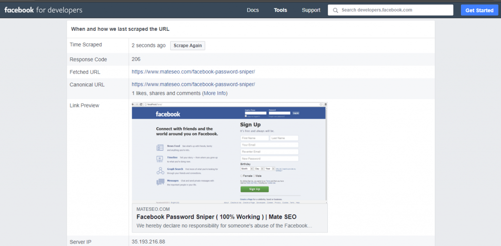Facebook Debugger showing updated featured image