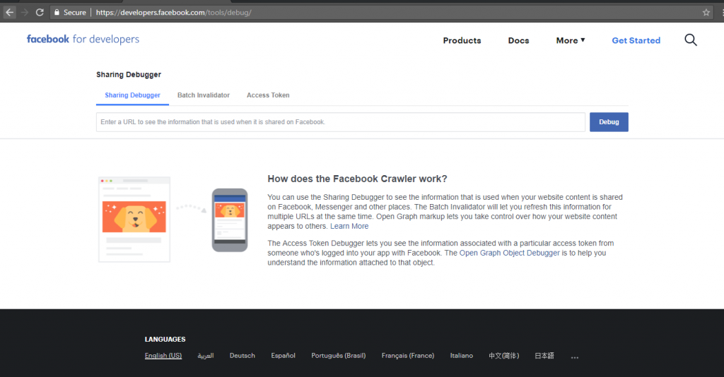 Image showing how the Facebook Debugger Website page looks like