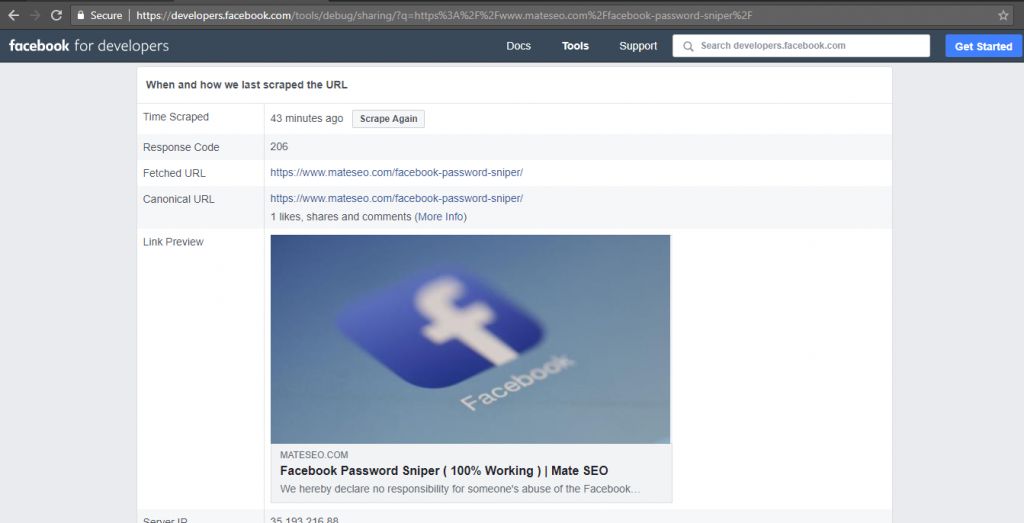 Facebook Debugger showing the old featured image